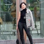 Business Look - Bestickter Blazer und Lederleggings