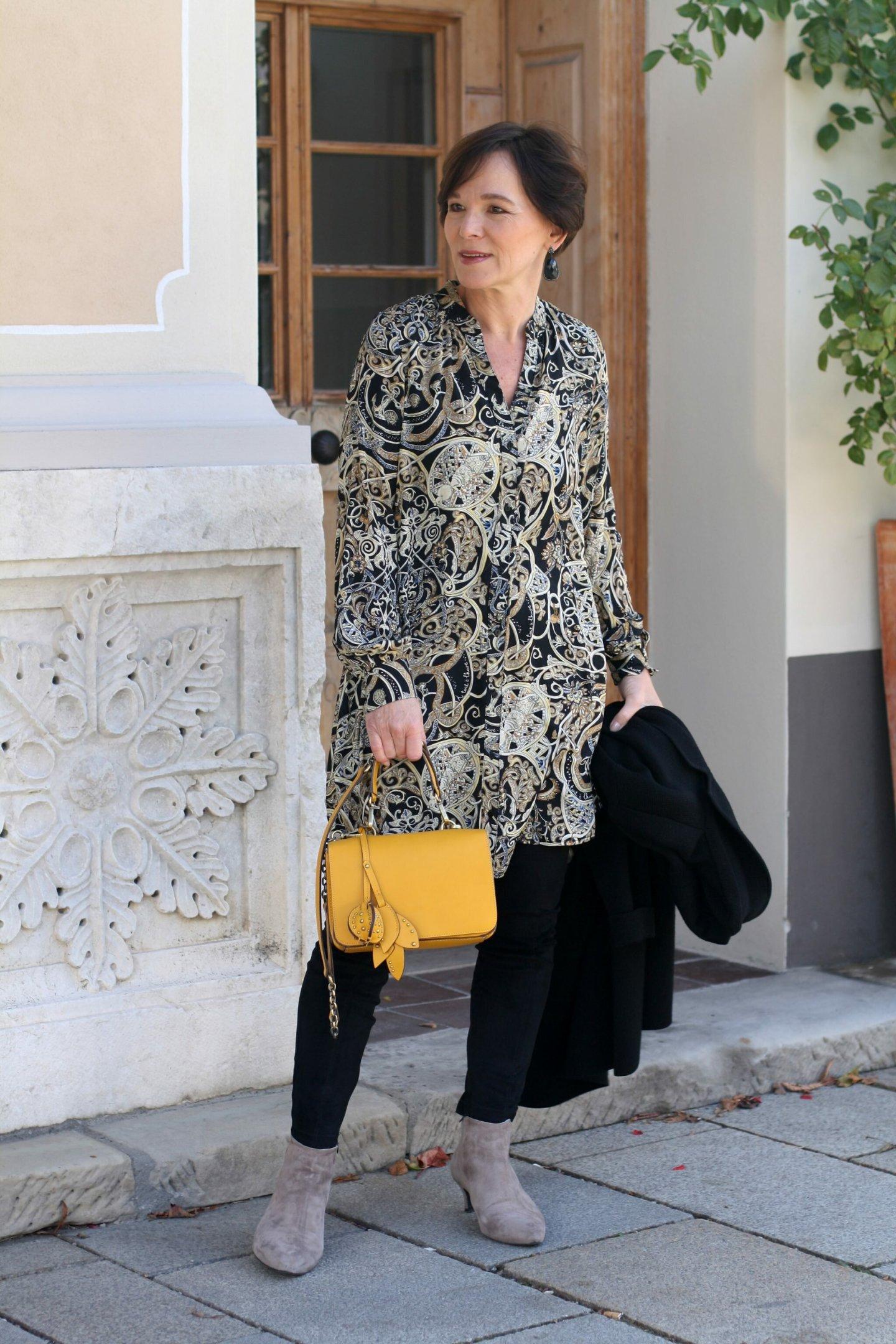 Tunika Paisley Herbstfarben Gelb Lederleggings 50plus LadyofStyle