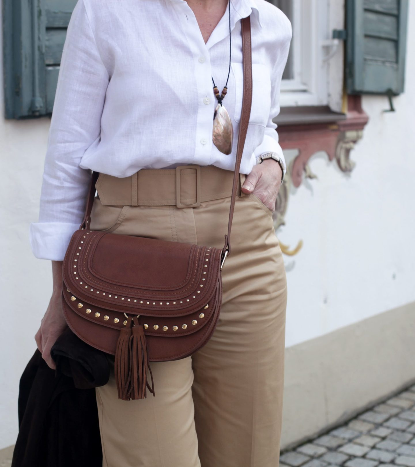 Highwaist Paperbag Hose Safari Leinenhemd 50plus LadyofStyle