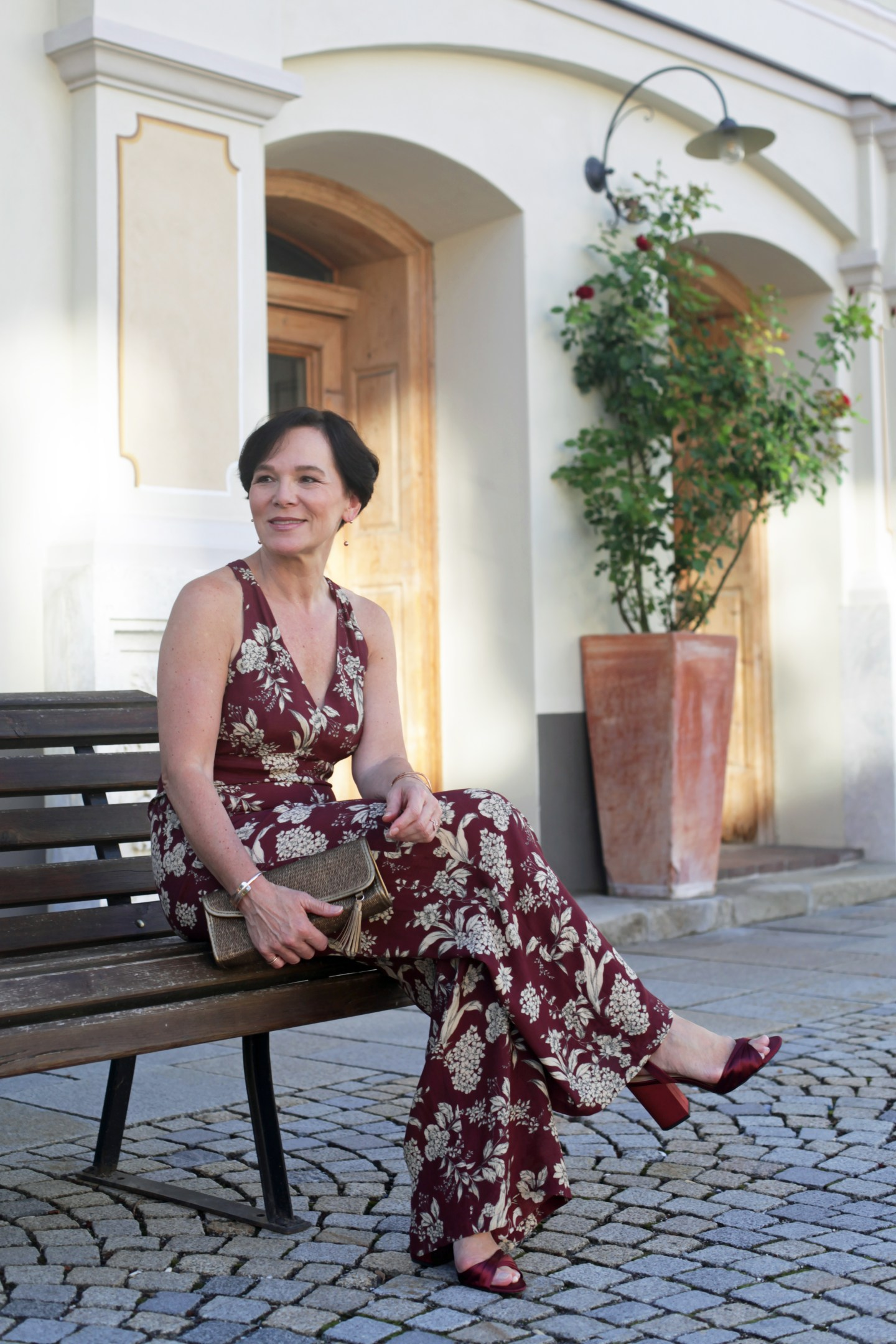 Overall Jumpsuit Beerentöne Bordeaux Party 50plus LadyofStyle