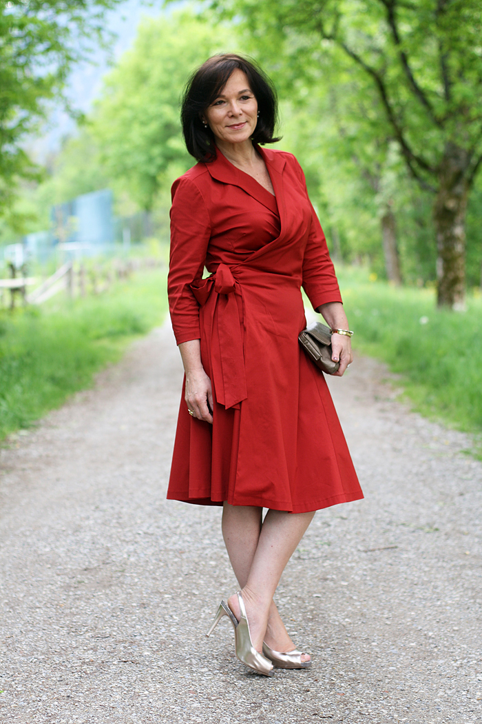 LadyofStyle Wickelkleid rotes Kleid Wrapdress Winser London 50plus Blogger