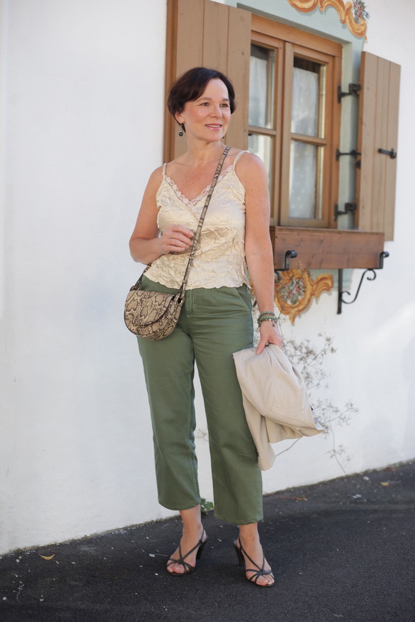 LadyofStyle Lingerietop Chinos Blazer Sommerlook 50plus Blogger