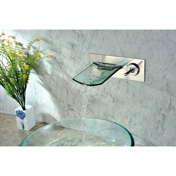 clari wall mounted brushed nickel glass waterfall spout bathroom sink faucet with single lever handle