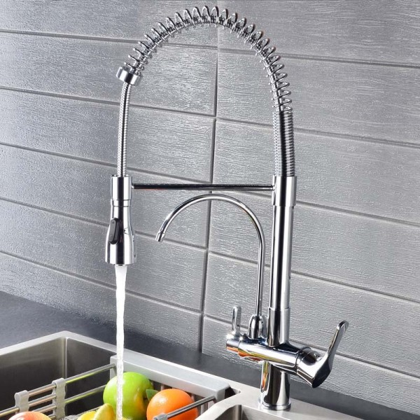 commercial dual function pull out sprayer double handle high arc swiveling kitchen faucet with water filtering in polished chrome solid brass