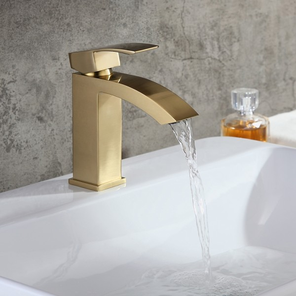 contemporary style brushed gold single hole deck mounted bathroom sink faucet with single handle solid brass