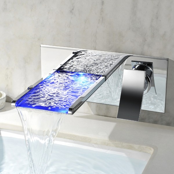 koko contemporary led wall mounted polished chrome brass waterfall bathroom sink faucet