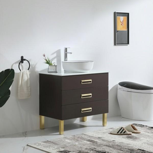 modern 36 single vessel sink bathroom vanity in gold with ceramic sink drawers