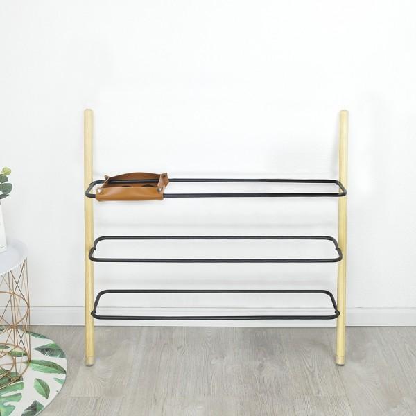 modern minimalist ladder shoe shelf wall leaning shoe rack 3 4 tiers solid wood black metal