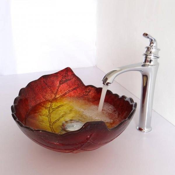 tempered glass art basin sinks counter top wash basin bathroom vessel sinks vanities glass wash basin leaf shape