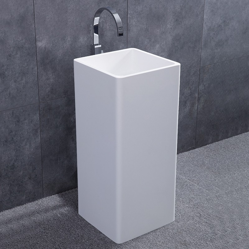 contemporary solid surface resin stone freestanding square pedestal sink in matte glossy white for bathroom