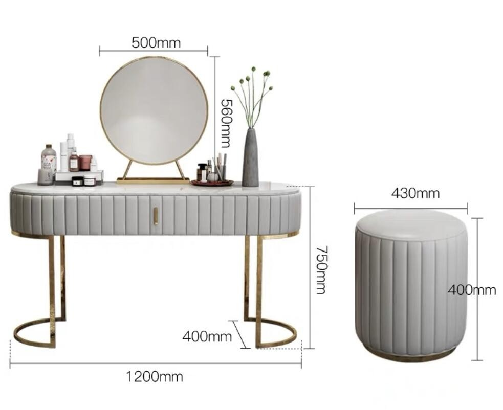 modern stylish faux marble tabletop makeup vanity set with drawers mirror leather stool included