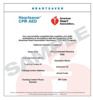 15 3004 Heartsaver CPR AED ECard