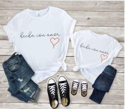 camiseta algodon mujer manga corta basica hecha con amor madre e hija moda hm