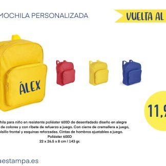 mochila niño personalizada con nombre amarillo azul rojo