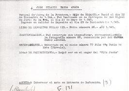Ficha aclaratoria de la identidad de José Hilario Barea Amaya