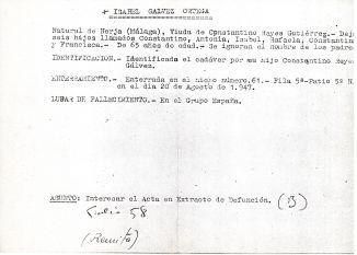 Ficha aclaratoria de la identidad de Isabel Gálvez Ortega