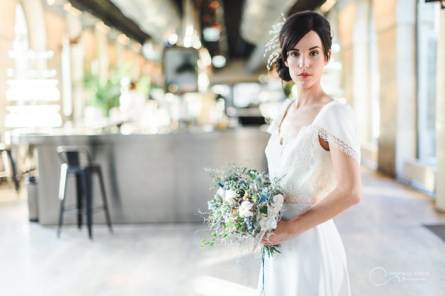 robe dos nu fleurs LES MARIEES FOX-pour mariage civil - la fabrique à mariage