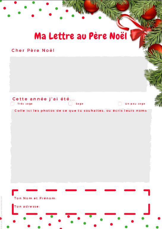 La lettre au p re no l a imprimer gratuit la f e - Modele pere noel imprimer ...