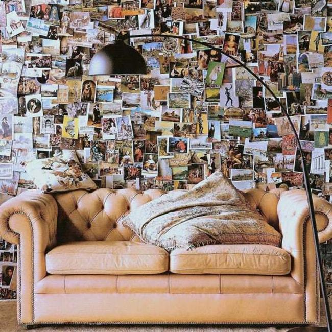 mur de cartes postales
