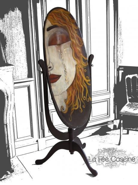 Arrière de Psyché peinte avec en Graphite avec feuille d'or - La Fée Caséine