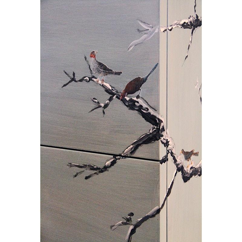 oiseaux sur une branche réalisés en transfert d'image