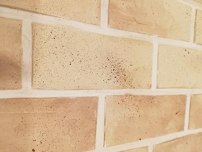 la peinture sur les briques vue de près