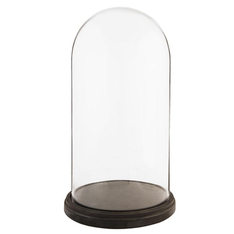 Cloche de verre haute avec plateau bois