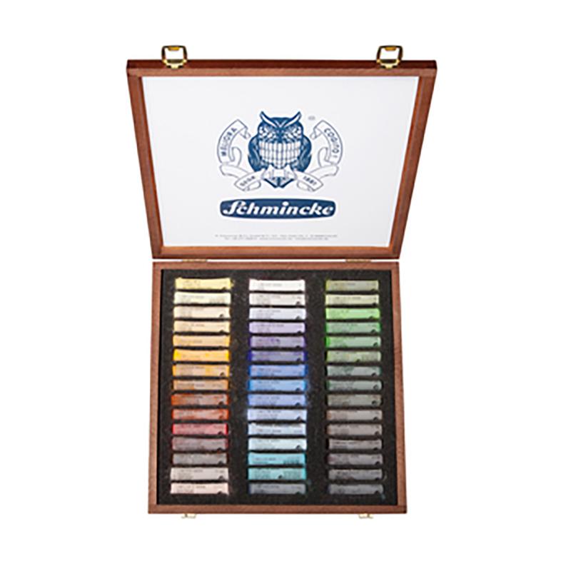 Coffret en bois contient 45 bâtons de pastels secs assortis