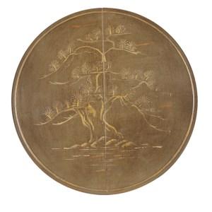 Guéridon pied à vis motif japonais peint avec la Chalk Paint Annie Sloan en teinte Olive