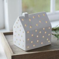 maisonnette lumineuse blanche pour décor de noël