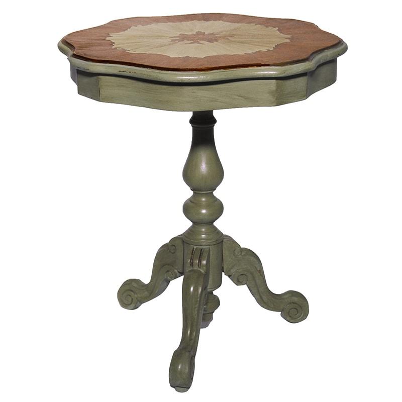 table guéridon avec marqueterie relookée par La Fée Caséine