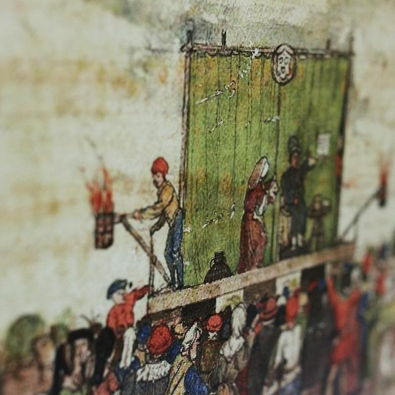 détail d'image transfert du théâtre de marionnette entièrement peint et patiné à la main par La Fée Caséine