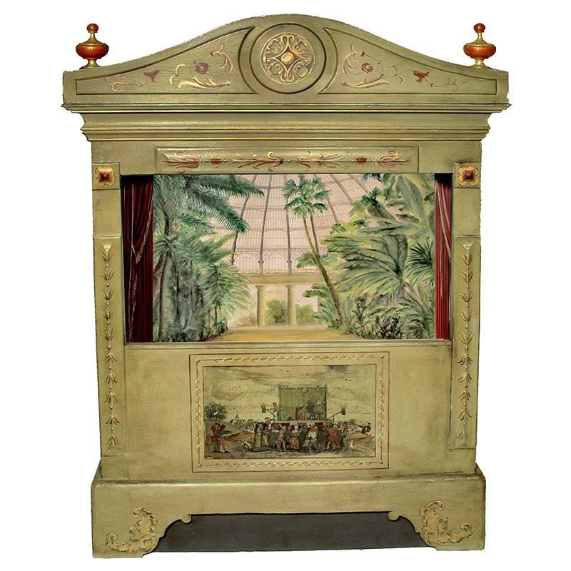 théâtre de marionnette entièrement peint et patiné à la main par La Fée Caséine avec son décor de serres tropicales