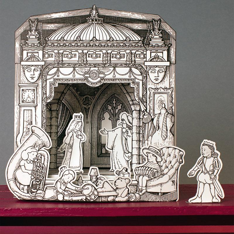 Théâtre de papier à colorier pour enfant, opéra grenier