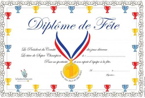 Diplome De Fete A Imprimer