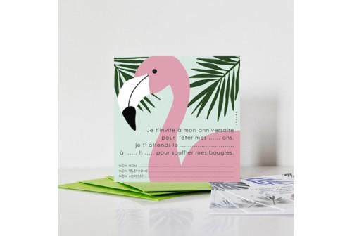 8 cartes d invitation flamant rose