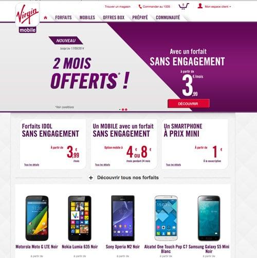 Promo Virgin mobile 2 mois offerts sur les abonnements sans engagement