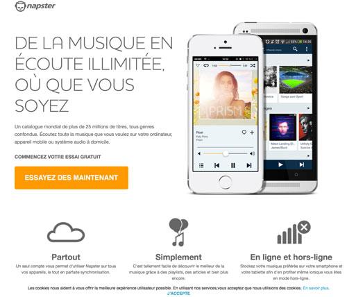 Napster abonnement musique gratuit 30 jours