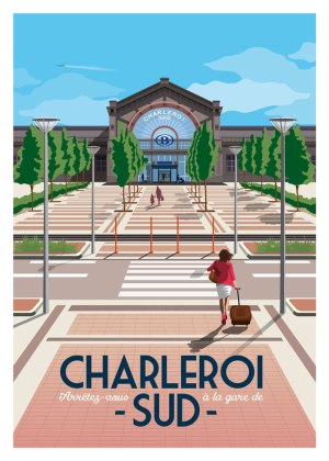 Affiche Belgique Charleroi Gare