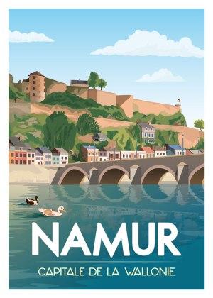 Affiche Belgique Namur Capitale de la Wallonie Citadelle