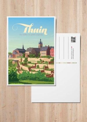 Carte postale Thuin son beffroi et ses jardins suspendus
