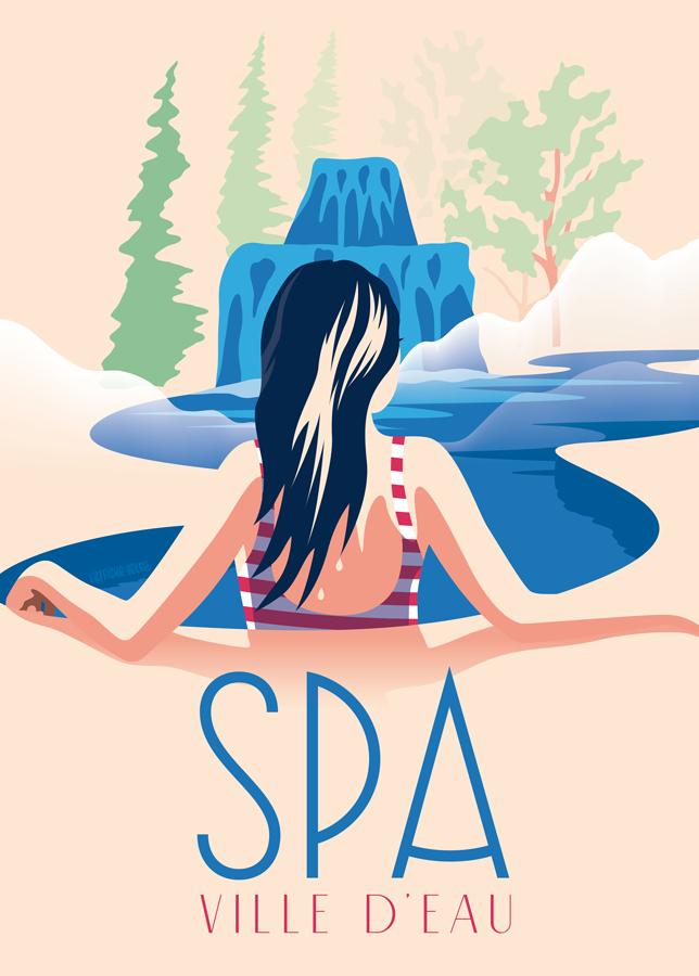 """Affiche """"Spa, Ville d'eau"""""""