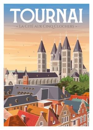 """Affiche Tournai """"La cité aux cinq clochets"""""""