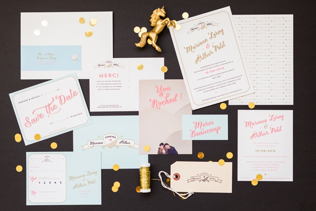 mister m studio faire part mariage letterpress dore arthur - LaFianceeduPanda.com