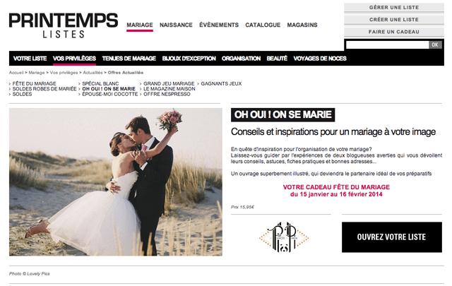 Printemps Listes Fete du mariage Oh Oui ! On se marie - LaFianceeduPanda.com