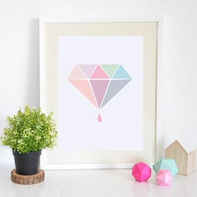 Affiche diamant pastel origami geometrique Petite Mila l La Fiancee du Panda blog mariage
