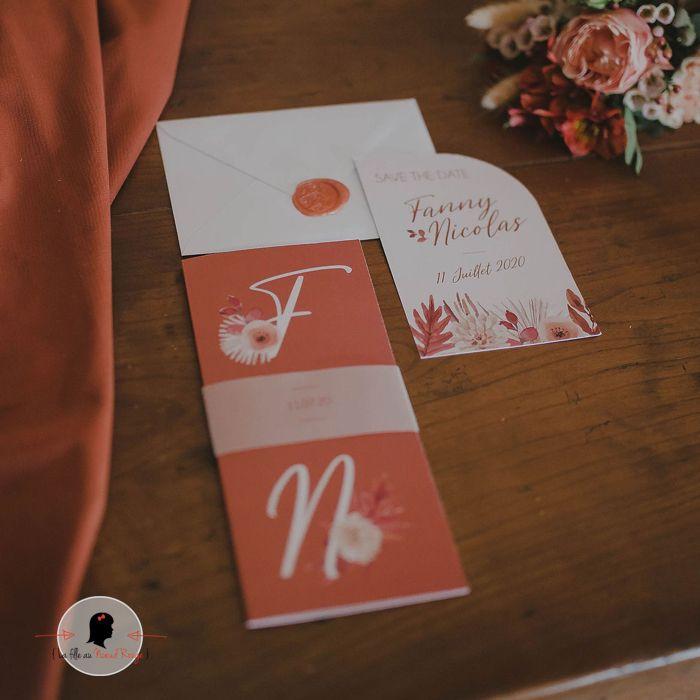 faire part mariage terracotta fleuri