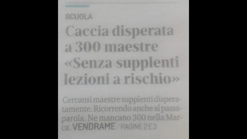 """Su """"La Tribuna"""" di Treviso del 29/11/2018 si cercano solo maestre (?)."""