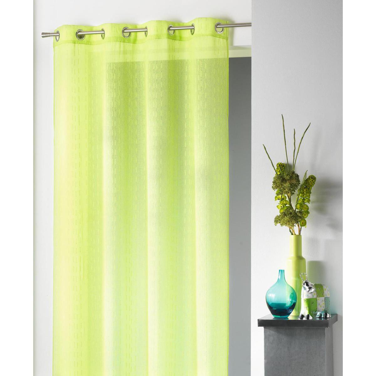 voilage cottage en polyester vert