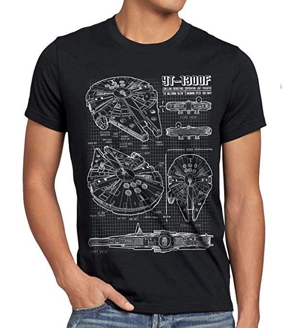 Camiseta del Halcón Milenario Cianotipo para Hombre